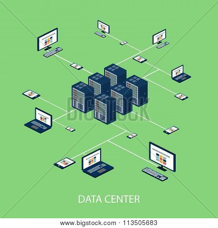 Data isometric set with data center and network elements vector