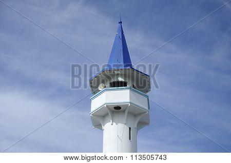 Minaret of Mersing Town Jamek Mosque at Mersing, Malaysia
