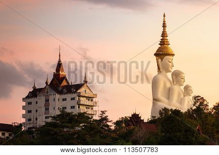 White Buddha Image In Morning Time At Wat Pha Sorn Keaw