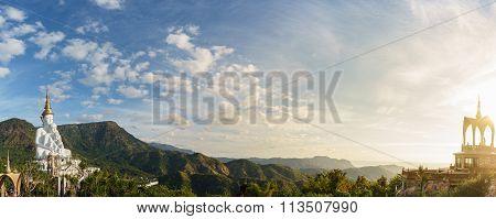 Panoramic View Of Buddhist Place In Phetchabun Thailand