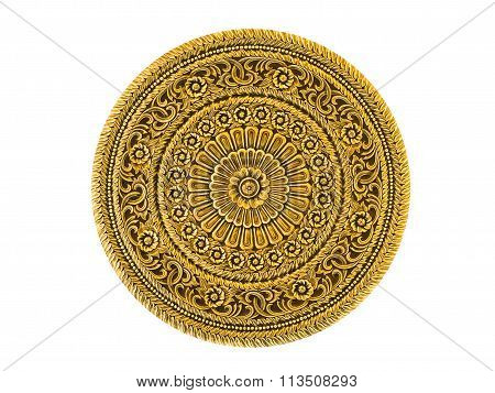 Gold Lacquered Metal Art Piece Engraved In Thai Floral Design