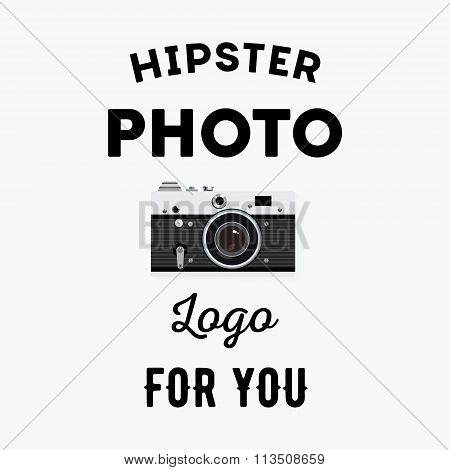 Hipster Logotype With Old Camera For Studio Or Photographer.