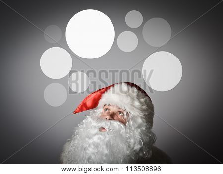 Santa Claus And Gray Bubbles