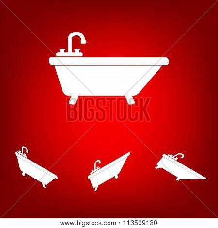 Bathtub Icon set. Isometric effect