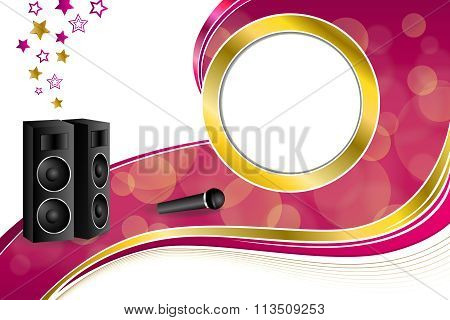 Background abstract karaoke microphone loudspeaker star pink yellow gold ribbon circle frame