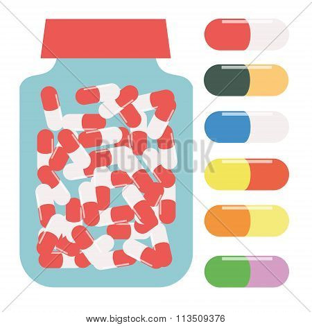 Bottle For Tablets, Packaging For Tablets, Container For Pills, Pills In Different Colors