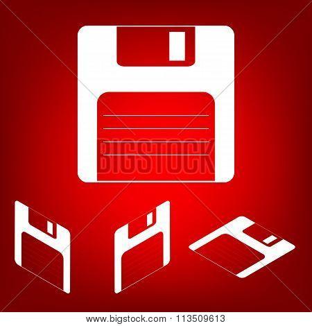 Floppy disk  Vector icon set. Isometric effect
