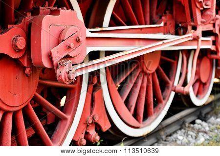 Old Steam Train Driving Wheel Mechanism
