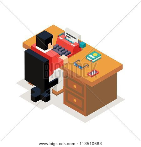 Writer reporter office workroom typewriter accessories isometric flat design vector illustration