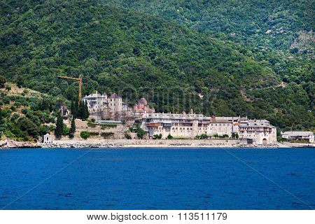 Seaview of Xenophontos Monastery in Athos Mount, Greece