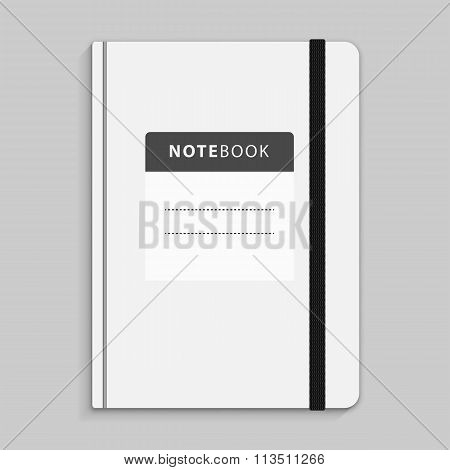 Black Copybook With Elastic Band Bookmark.