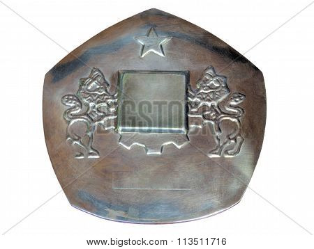 Metal plaque with two lions and a star isolated on white