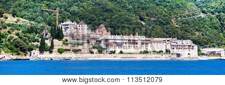 Panorama of Xenophontos Monastery in Athos Mount, Greece