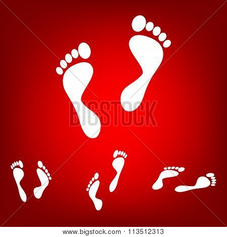 Foot prints. Vector illustration  set. Isometric effect