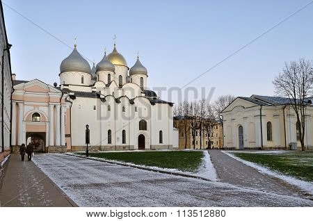 Saint Sophia Cathedral In Veliky Novgorod, Russia - Evening Landscape
