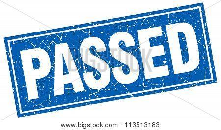 Passed Blue Square Grunge Stamp On White