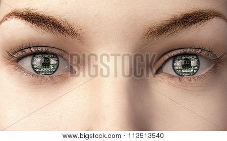 Woman With Binairy Code In Here Eyes