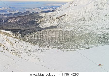 Chair Lifts And Ratracks At A Distance In Kasprowy Wierch In Zakopane