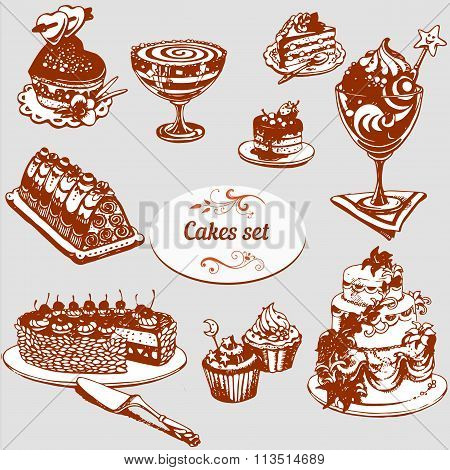 Set Of Sweets And Cakes