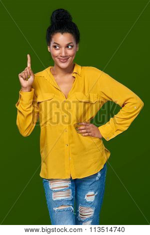 Woman pointing her finger up