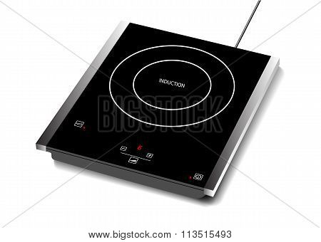 Vector illustration of induction hob with touchpad., Single burner