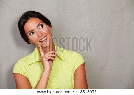 Straight Hair Lady With Hand On Chin