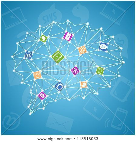 Abstract colorful illustration with social icons