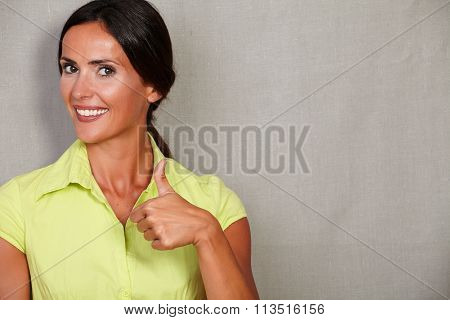 Straight Hair Female With Thumb Up