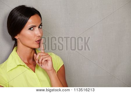 Long Hair Lady With Shut Up Gesture