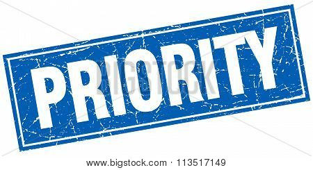 Priority Blue Square Grunge Stamp On White