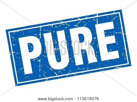 Pure Blue Square Grunge Stamp On White