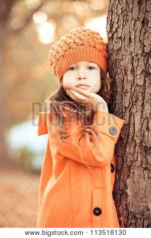 Kid girl outdoors