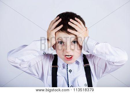 Stressed little boy having problems