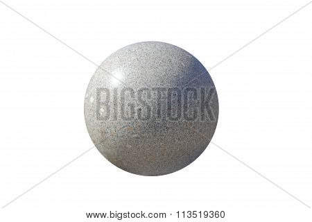 Grey Granite Spheres Isolated On A White Background