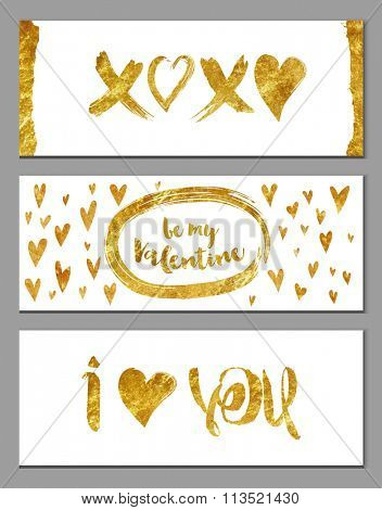 Gold Foil Valentine Banners - Valentine's horizontal banners with hearts and gold foil texture on white background, abstract, whimsical, hand drawn backgrounds and elements