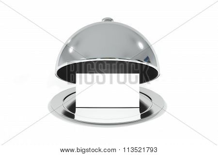 Silver Cloche With White Sign Isolated