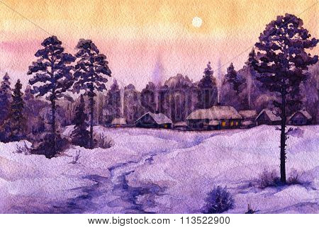 Winter View Of The Old Village On Forest Edge.