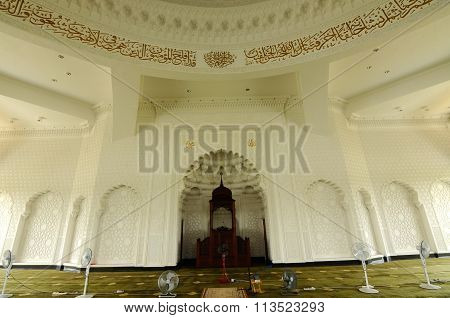 Interior of the Sultan Ismail Airport Mosque at Senai Airport in Malaysia