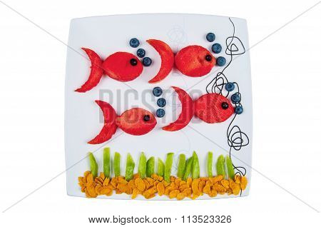 Fun Food. Fish Made From Fruits