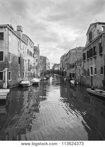 Venice, Italy, Grand Canal And Historic Tenements,black And White Tone