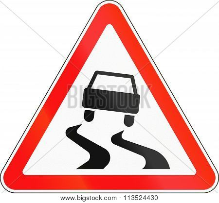 Road Sign Used In Russia - Slippery Road Surface