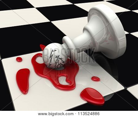 The fallen pawn on the chessboard
