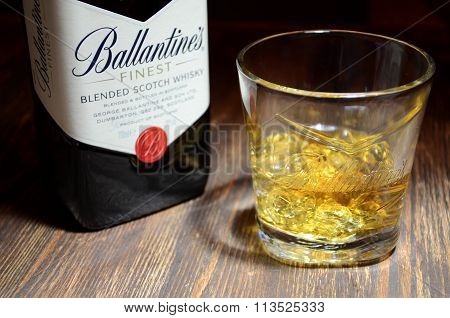 Glass of ballantines whisky