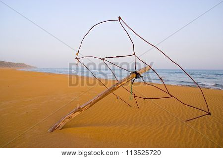 Derelict Beach Umbrella At Golden Turtle Beach In Karpasia, Island Of Cyprus