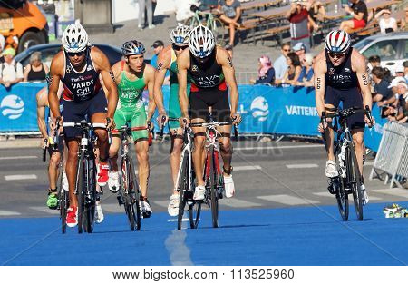 Close-up Of Cycling Triathletes