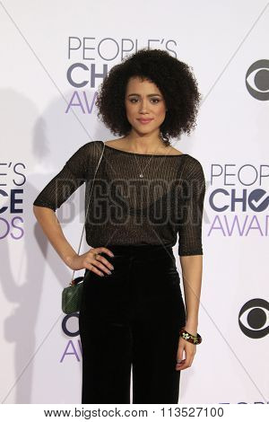 LOS ANGELES - JAN 6:  Nathalie Emmanuel at the Peoples Choice Awards 2016 - Arrivals at the Microsoft Theatre L.A. Live on January 6, 2016 in Los Angeles, CA