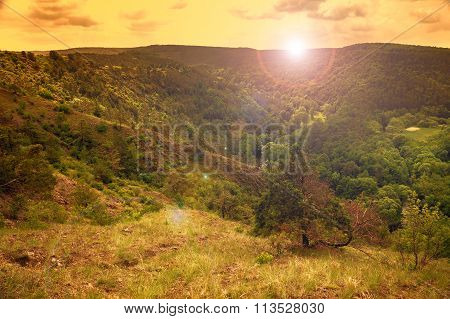 View of steppe in Czech Republic, sunset sky