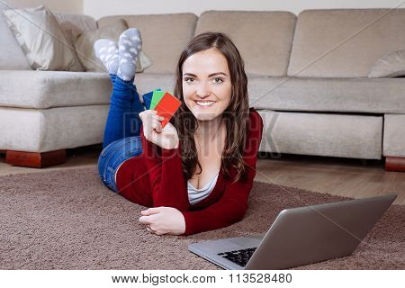 Happy Woman Doing Online Shopping