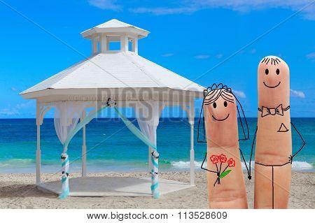 Happy Family To Celebrate One's Wedding On The Beach