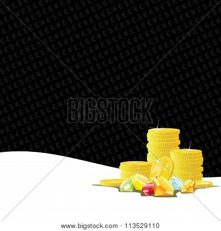 Golden Coins And Gemstones Gambling Background